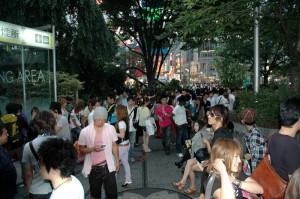La foule autour d\'Hachiko à Shibuya