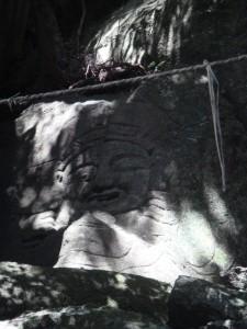 Divinité boudhique archaïque près du lac d\'Unzen (Kyushu, Japon)
