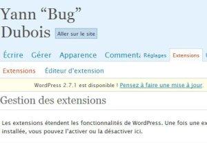 Page de gestion des plugins dans WordPress
