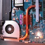 Inside the Sony VAIO laptop: copper CPU cooling assembly, heat drive and fan