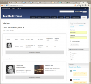 Profile Visitor Tracker screenshot 1 - using the shortcode in BuddyPress