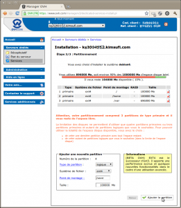 Capture-Manager OVH 18 - Attention votre partitionnement comprend 3 partitions de type primaire